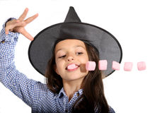 Halloween witch with marshmallows Royalty Free Stock Photography