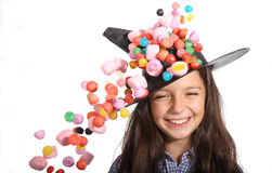 Halloween witch with marshmallows Royalty Free Stock Photos