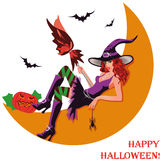 Halloween witch and moon Stock Images