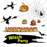 Halloween witch party. Abstract colorful background with witches, Halloween pumpkins, spider on a spiderweb, and bat shapes flying. Halloween witch party concept Stock Photos