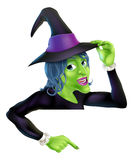 Halloween witch pointing Royalty Free Stock Photos