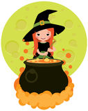 Halloween witch preparing potion. Cartoon vector illustration Stock Photography