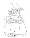 Halloween witch preparing potion Royalty Free Stock Photo