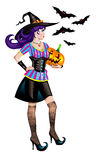 Halloween. Witch with pumpkin and bats Stock Image