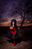 Halloween witch with a pumpkin and a broom Stock Photos