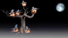 Halloween witch with pumpkin 3d render stock illustration