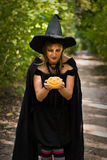 Halloween Witch with Pumpkin Stock Images