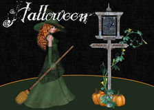 Halloween Witch Pumpkin Sign Background. This background is designed with a red haired Halloween witch. A crosswalk sign decorated with pumpkins and vines royalty free illustration