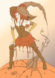 Halloween witch with the pumpkin Stock Images