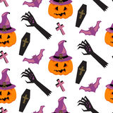 Halloween witch pumpkin vector seamless pattern. Royalty Free Stock Image