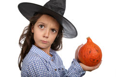 Halloween witch and pumpkin Royalty Free Stock Photography