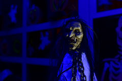Halloween witch puppet in the night. Night - low light photo of the Halloween witch puppet Stock Photography