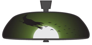 Halloween Witch In Rear View Mirror Stock Photos