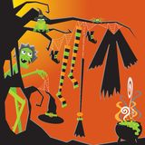 Halloween Witch's Clothesline Stock Images