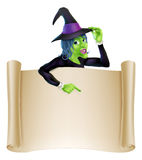 Halloween Witch Scroll Stock Image