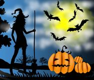 Halloween witch silhouette with broom Stock Photography