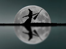 Halloween witch silhouette flying with broomstick. Full Moon. Re Royalty Free Stock Photos