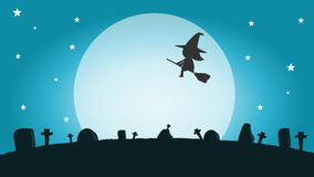 Halloween witch silhouette on the moon , vector illustration of Halloween witch Happy Halloween. Halloween Party Stock Photo
