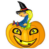 Halloween witch sitting on pumpkin. jack lantern c Royalty Free Stock Image