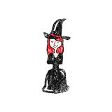 Halloween witch sitting stamp Royalty Free Stock Photo