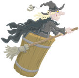Halloween Witch. A sorceress in black flying with her old broom and mortar Royalty Free Stock Photography