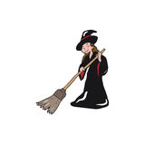 Halloween witch sweeping Stock Images