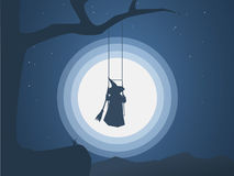 Halloween witch on a swing in front of moon under the tree vector illustration. Halloween costume for trick or treating Royalty Free Stock Photography