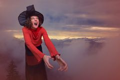 Halloween witch, with a terrible expressive face Royalty Free Stock Photography