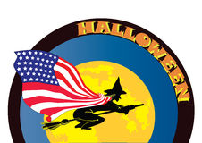 Halloween witch with USA flag Stock Photography