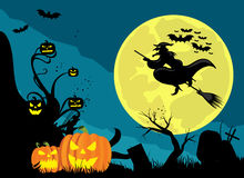 Halloween Witch vampires and pumpkins Stock Images