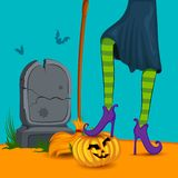 Halloween witch wearing striped stockings Stock Photo