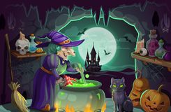 Free Halloween Witch With Potion And Cauldron Stock Photos - 153324483