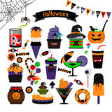 Halloween witchcraft sweets flat icons Royalty Free Stock Photos