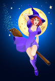 Halloween witchery. Illustration for Halloween holiday: witch on a broom flying in the sky Royalty Free Stock Photo