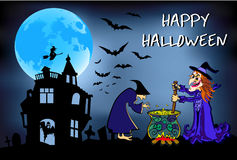 Halloween witches brew that potion, poster, colorful illustration Stock Image
