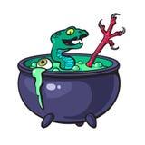 Halloween witches cauldron. Halloween witches cauldron with green potion, serpent, eye, bird leg. Cartoon sketch illustration isolated on white background Stock Image