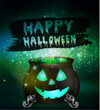 Halloween witches cauldron. With green potion and spiders on dark background with face, illustration Stock Photography