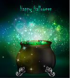Halloween witches cauldron. With green potion and spiders on dark background, illustration Stock Image