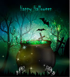 Halloween witches cauldron. With green potion and spiders on dark background, illustration Royalty Free Stock Image