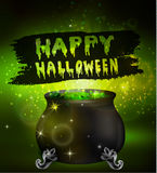 Halloween witches cauldron. With green potion and spiders on dark background, illustration Royalty Free Stock Photos