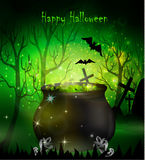 Halloween witches cauldron. With green potion and spiders on dark background, illustration Royalty Free Stock Photography