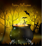 Halloween witches cauldron. With green potion and spiders on dark background, illustration Stock Images
