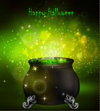 Halloween witches cauldron. With green potion and spiders on dark background, illustration Royalty Free Stock Images