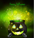 Halloween witches cauldron. With Jack O Lantern face and green potion on dark background, illustration Stock Images