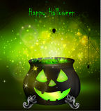 Halloween witches cauldron. With Jack O Lantern face and green potion and spiders on dark background, illustration Royalty Free Stock Photo