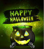 Halloween witches cauldron. With Jack O Lantern face green potion and spiders on dark background, illustration Stock Photos