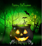 Halloween witches cauldron. With Jack O Lantern face green potion and spiders on dark background, illustration Royalty Free Stock Photography
