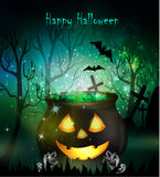 Halloween witches cauldron. With Jack O Lantern face green potion and spiders on dark background, illustration Stock Photography