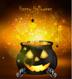 Halloween witches cauldron. With Jack O Lantern face yellow potion and spiders on dark background, illustration Stock Images