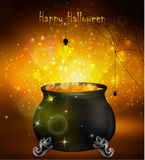 Halloween witches cauldron. With yellow potion and spiders on dark background, illustration Stock Photos